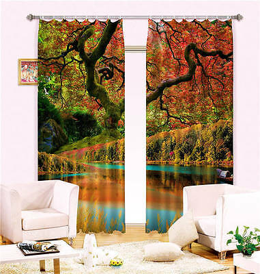 Jungle Colorful Lake 3D Customize Blockout Photo Curtain Print Home Window Decor