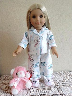 """NEW-DOLL CLOTHES: PJs/Slippers/Teddy Bear fit 18"""" Doll such as AG Dolls-Lot #272"""
