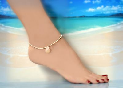 Sweet Pink & Yellow Hawaiian Sunrise Shell & Seed Pearl Anklet 9.5 to 11 Inches