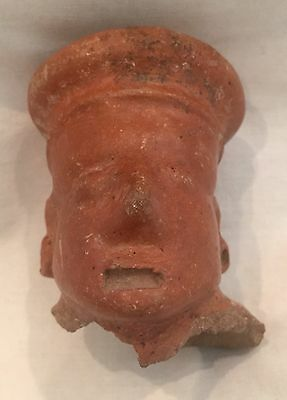 Ancient Pre-Columbian Jalisco Red Pottery Head Figure