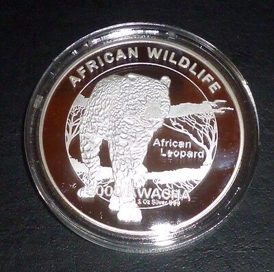 2016 African Wildlife  Zambia African Leopard 5000 Kwacha 1 Oz Silver Plate