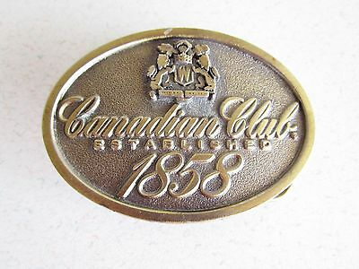Canadian Club Whiskey Belt Buckle Brass Vintage Established 1858 Logo Bar Wear