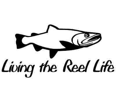 Living the reel life girl salmon steelhead sticker - 10 colors to choose from