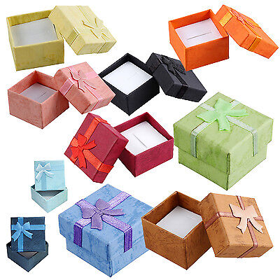 24 Pcs Ring Earring Jewelry Display Gift Box Bowknot Square Case yellow YM