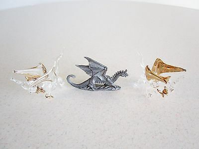 Lot of 3 Vintage Dragon Figures Pewter Glass w/ gold accents Fantasy Asian Myth