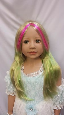 "NWT Monique Jade Pink/Green Doll Wig 19 1/2"" fits Masterpiece Doll(WIG ONLY)"