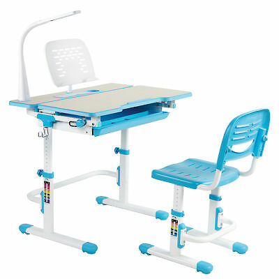 Deluxe Height Adjustable Children's Desk & Chair Kids Interactive Station Blue
