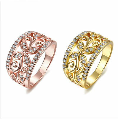 18K Rose Gold Filled Rhinestone Crystal CZ Zircon Gem Flower Wedding Party Ring