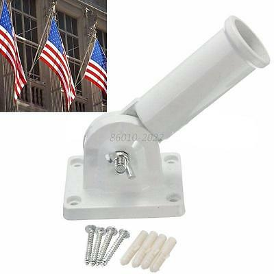 Flag Pole Wall Mount Metal Flagpole Decoration Holder For Flags Windsock w/Screw