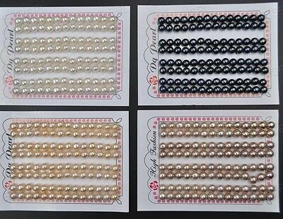 AAA Lots 1 Card (52pairs) 6.5-7mm half drilled button Freshwater pearl
