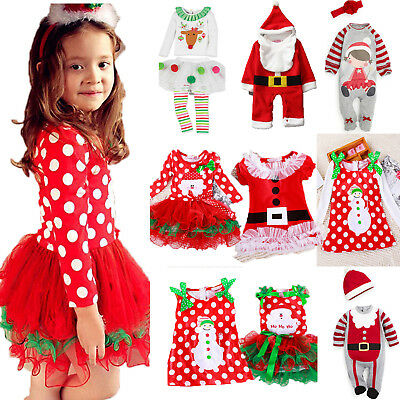Toddler Kids Baby Girls Christmas Santa Party Dress Xmas Playsuit Outfit Clothes