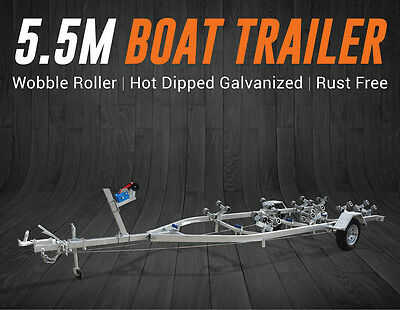 5.5M Boat Trailer Drive-On Wobble Roller 15-18.5Ft Boats Heavy Duty Brisbane QLD