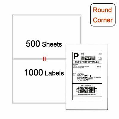 1000 Premium Round Corner Shipping Labels 2 Per Sheet - 8.5 x 5.5 Self Adhesive