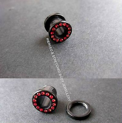 8mm single TUNNEL with RED Gems and SCREW Fit BACK - Tunnels & Plugs