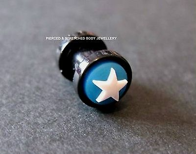 ONE 5mm Ear Plug with Blue Silicone back ground & White Star - Tunnels & Plugs