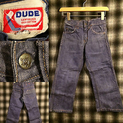 vtg DUDE denim jeans Sanforized Cowboy Display Boys 22x19 DARK INDIGO BLUE RARE