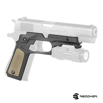 Recover Tactical Grip & Rail System w/ Changeable Panels for 1911 Pistols - CC3P
