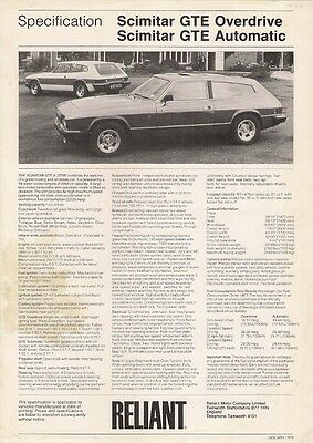 Reliant Scimitar GTE Specification 1979-80 UK Market Leaflet Brochure