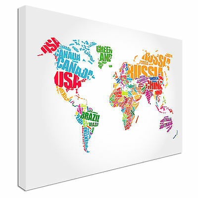 World Map In Typography Canvas Wall Art prints high quality