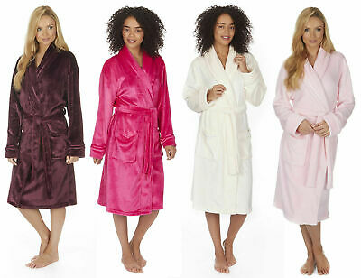 Womens Dressing Gowns Super Soft Flannel Collar Robes Gown Plus Size 2XL 3XL 4XL