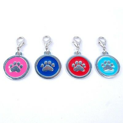 ENGRAVED PAW PRINT Pet Name Id Tag cat puppy dog collar 25mm nickel disc disk P