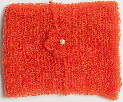 Orange Mohair Wrap and Matching Headband Photo Prop Newborn Photography