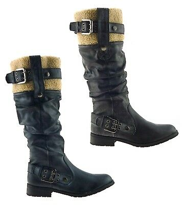 07afccda512 Ladies Womens Vintage Retro Chunky Flat Shearing Punk Biker Knee Boots Shoes