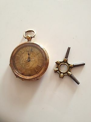 Antique Mid 19th Century 18K Gold Pocket Watch With Key Fob Great Condition