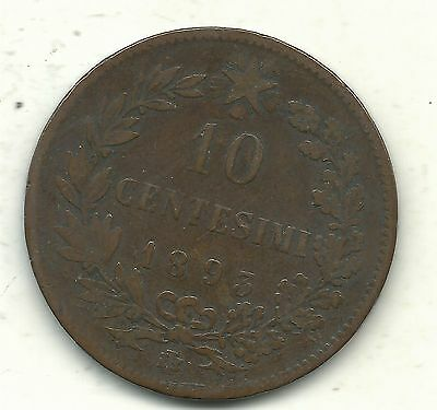 A Very Nice Vintage Better Grade 1893 Bi 10 Centesimi Italy Coin-Jun045