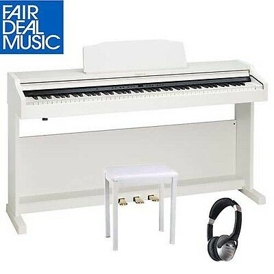 Roland Rp 401R-Wh Digital Piano  Satin White W/ Piano Bench And Headphones