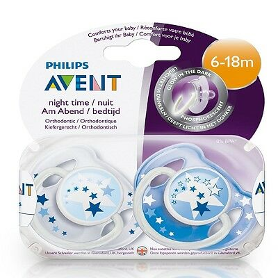 Baby Pacifier 6-18 Months Glow Night Dummy Silicone Soother Avent Pack of 2