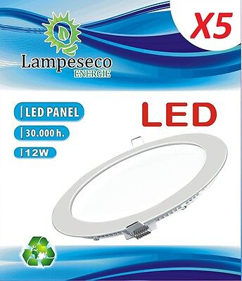 Lot de 5 Spot Encastrable LED Downlight Panel Extra-Plat 12W Blanc Neutre