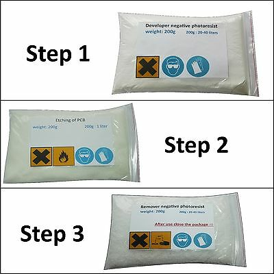 Developer and Remover For Negative Photo Resist Dry Film, Etchant for PCB FR4.