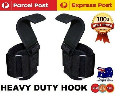 Heavy Duty Weight Lifting Power Training Wrist Support Strap Hook Glove Gripper