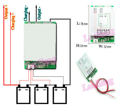 3S 25A protection PCB board W//balance BMS 18650 Li-ion lithium battery cell YGXJ