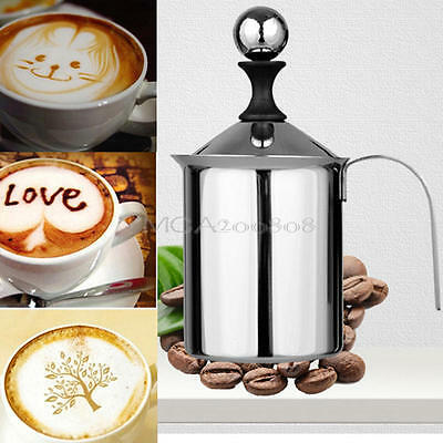 Coffee Latte Hot Chocolate Milk Frother Whisk Frothy Blend Mixer Whisker 400ml