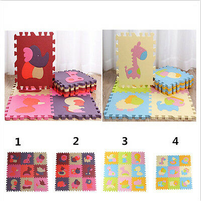 9pcs Cute Baby Kids Soft EVA Foam Play Mats Floor Puzzle Crawling Play Game Mat