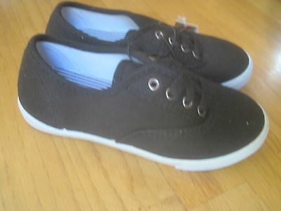 GIRL BLACK CANVAS CASUAL SNEAKERS Shoes NWT 12