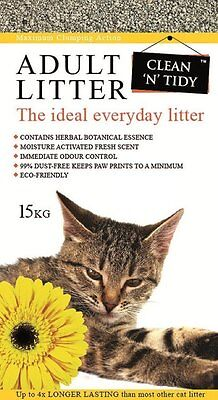 Clean-n-Tidy Adult Everyday Cat Litter, 15 Kg NEW