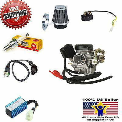 Ign Coil Air Filter Solenoid CDI 19mm Carb NGK Spark Plug Performance Gy6 50cc