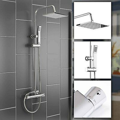 Modern Bath Mixer Shower Square Chrome Thermostatic Twin Head Set Duscharmatur