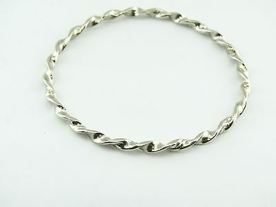 925 Sterling Silver Bangle Ladies vintage ROPE fashion nice designer style 12G