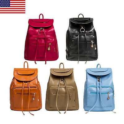 Women's Girls PU Leather Satchel Handbag Backpack School Rucksack Bags Travel