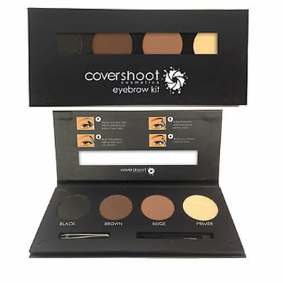 CoverShoot 3 Colour Eyebrow Kit Powder and Primer Palette with Brush and Tweezer