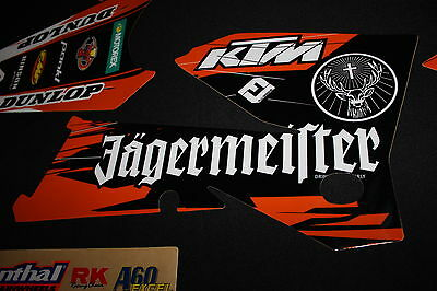 Ktm 2005-2007 Jagermeister Factory Flu Mx Graphics Decals Kit Stickers