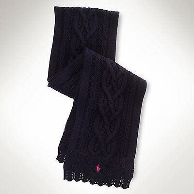 NWT Polo Ralph Lauren Girls Cable Combed Cotton Scarf Navy Size 7-16