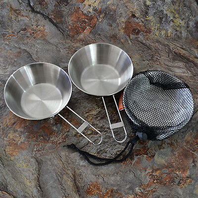 Foldable Stainless Steel Camping Folding Handles Bowl Hiking Cook Cooking Picnic