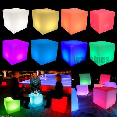 "Cocktail Tables Chair Color Changing LED Clubbing Lighting Stool 15"" x 15"" x 15"""