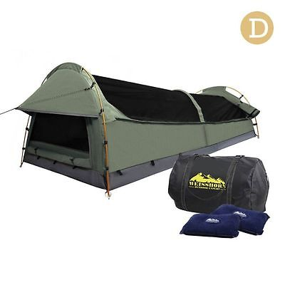Double Camping Canvas Swag Tent Celadon w/ Air Pillow (SWAG-DOU-GS-CE)