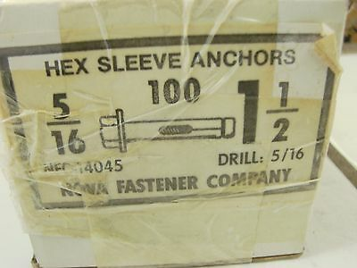 """95 Concrete Hex Sleeve Anchors 5/16x 1-1/2"""" Hex Head Nut & Washer"""